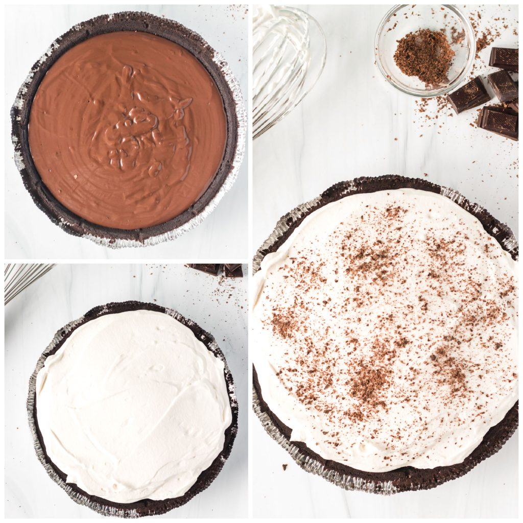 collage of overhead shots showing chocolate cream pie layers