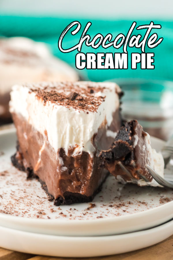 """straight on shot of chocolate pie with a bite missing. text reads """"chocolate cream pie"""""""