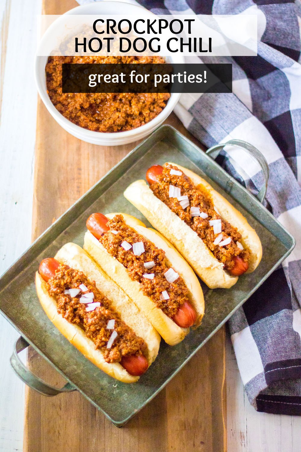 Full of flavor, this Crockpot Hot Dog Chili makes an ordinary hot dog extra delicious. Made in the slow cooker, it is the perfect addition to a hot dog bar with toppings, or serving on top of fries or burgers! | www.persnicketyplates.com