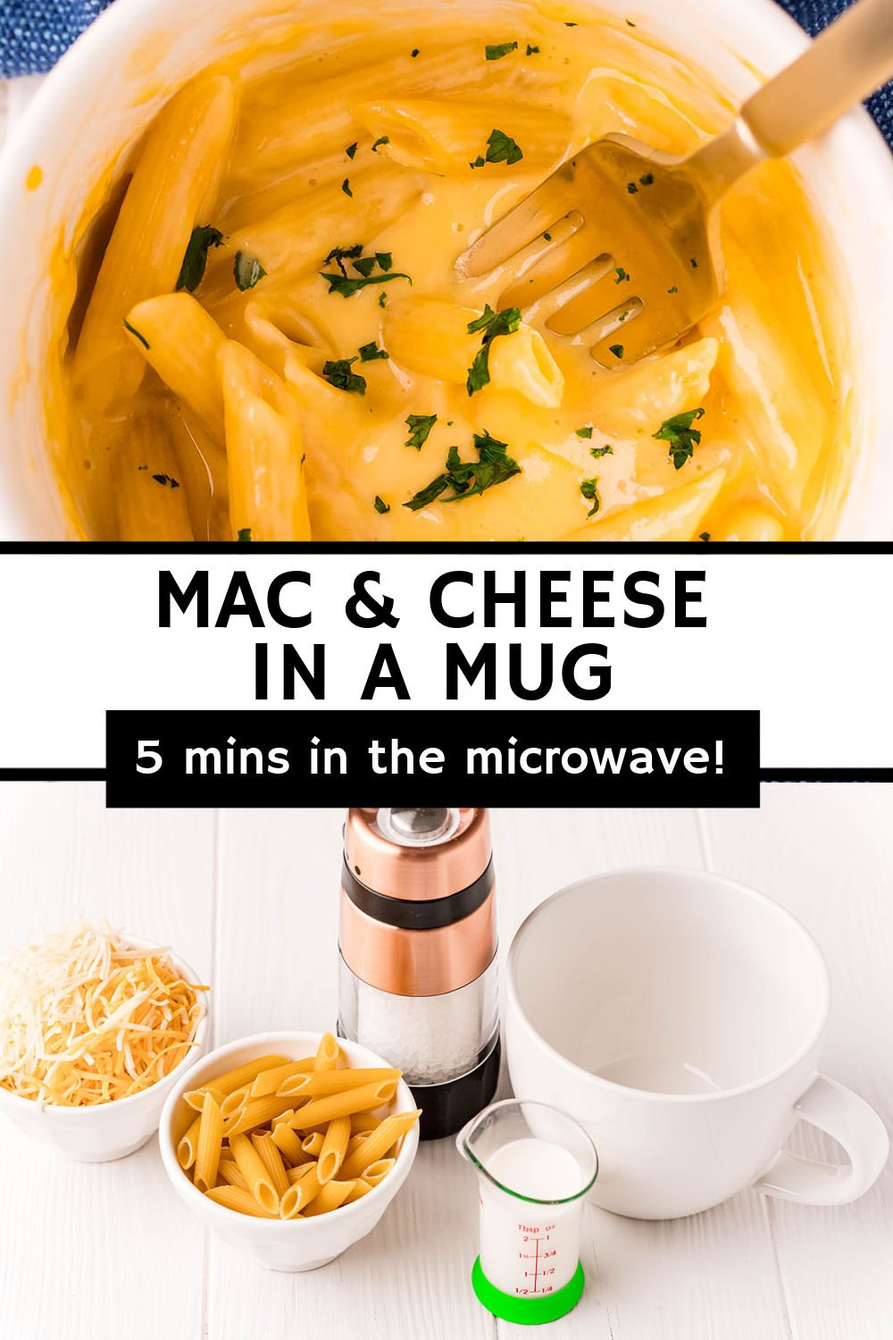 Short on time but want macaroni and cheese? This Mac and Cheese in a Mug takes only FIVE minutes to make in the microwave and will satisfy all cheesy cravings! | www.persnicketyplates.com