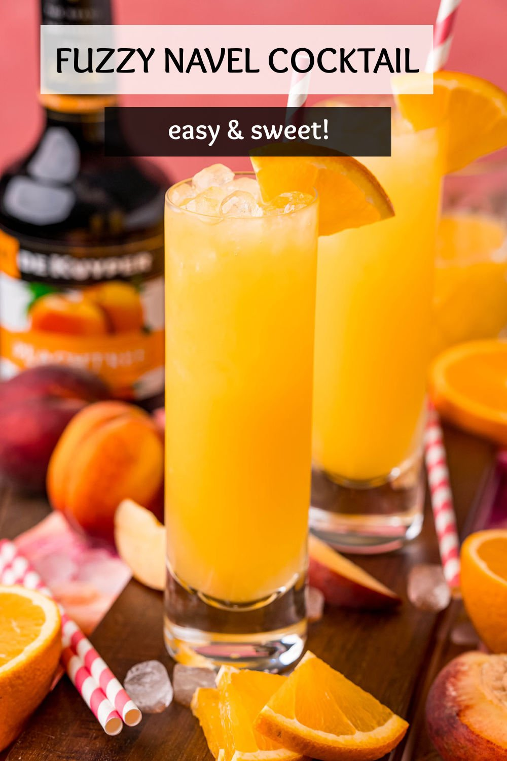 A fuzzy navel is a fruity, fun summer drink. Perfect for brunch or your next BBQ! | www.persnicketyplates.com