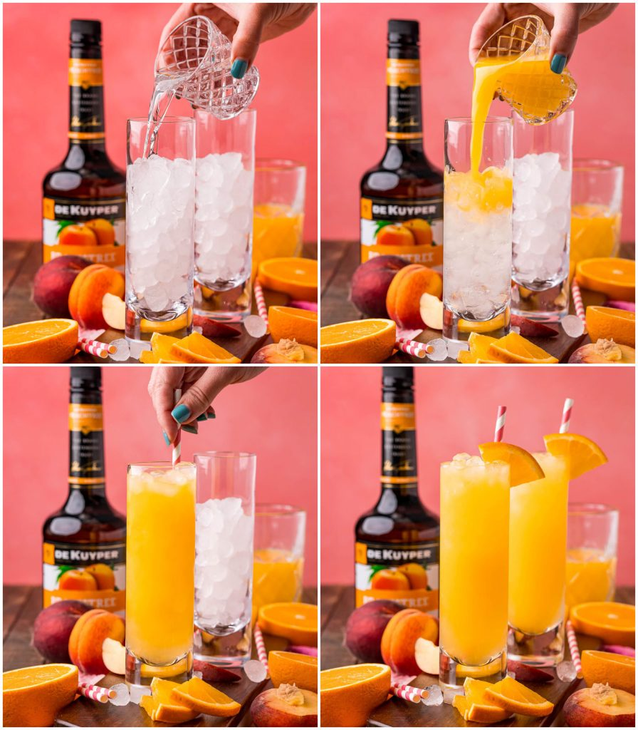 collage of hand pouring juice and schnapps into a glass for a fuzzy navel