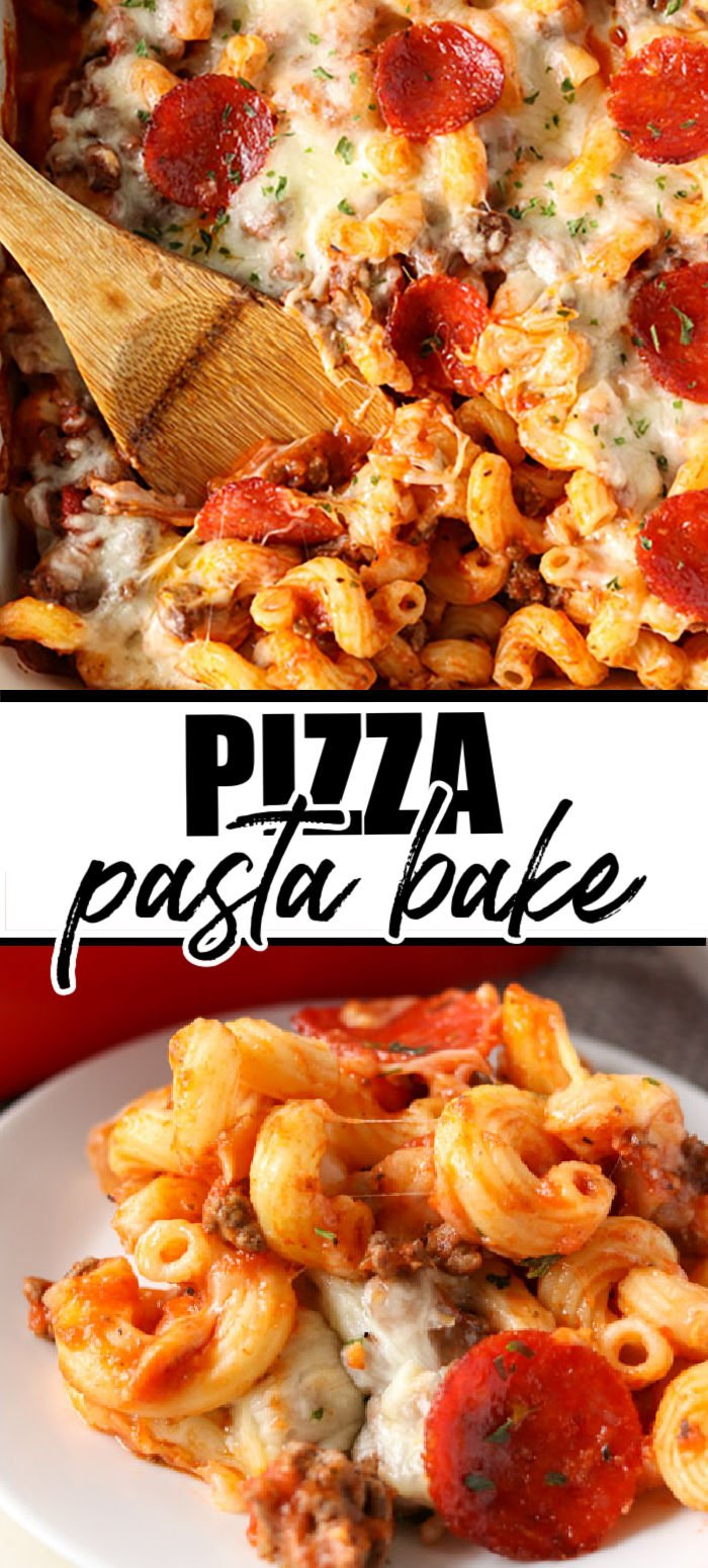 This delicious Pizza Pasta Bake takes everything you love about pizza and puts it into casserole form. Use your favorite toppings - we opt for traditional pepperoni - to make an easy meal that the whole family will love!  | www.persnicketyplates.com
