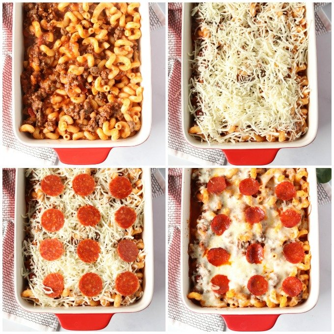 collage of process shots making a pizza pasta bake