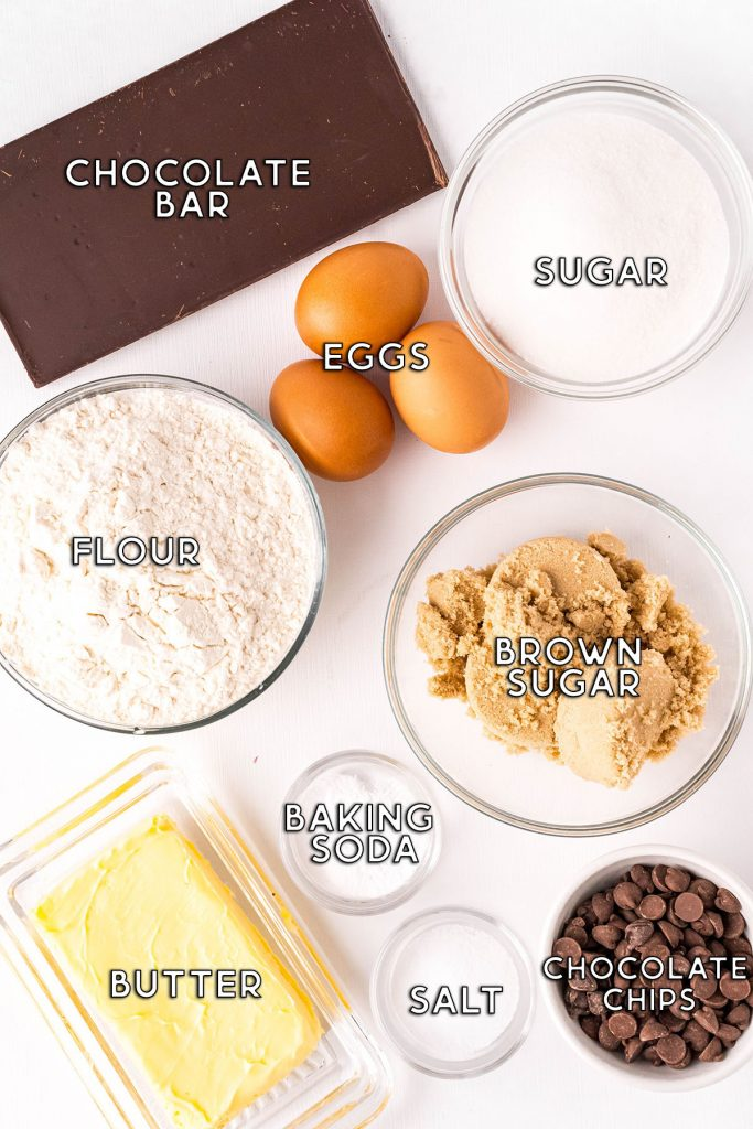 overhead shot of labeled ingredients laid out to make a cookie