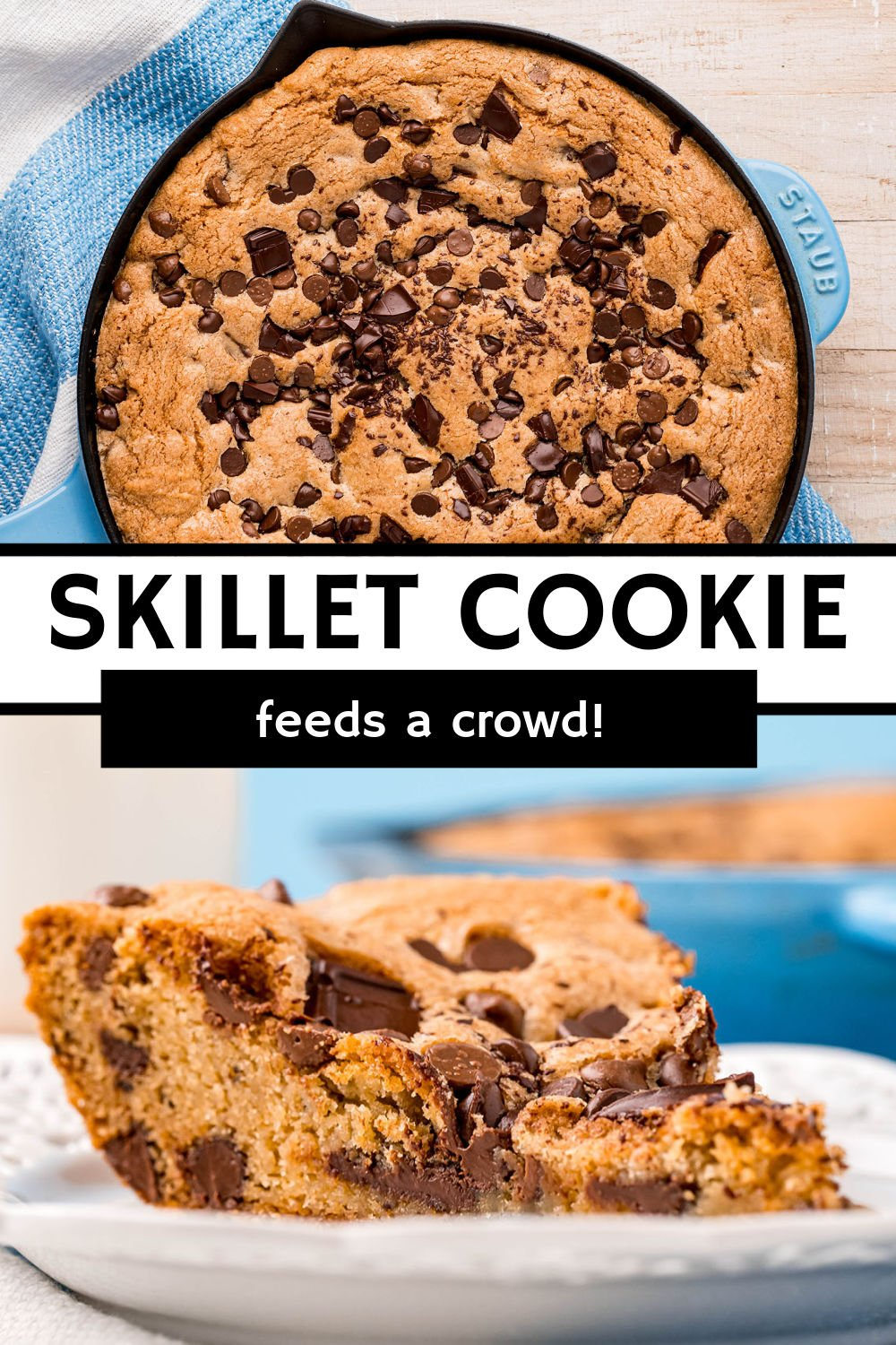 Have you ever made a skillet cookie? A giant chocolate chip cookie baked in a cast-iron skillet. Let it cool to slice and serve a group, or eat it warm with a scoop of ice cream straight out of the skillet!  You can also switch up the mix-ins to suit your taste buds.   www.persnicketyplates.com