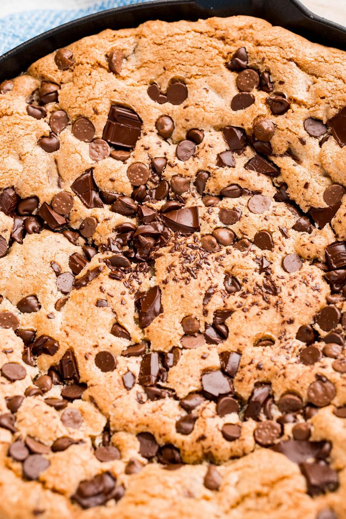 close up of a giant chocolate chip cookies