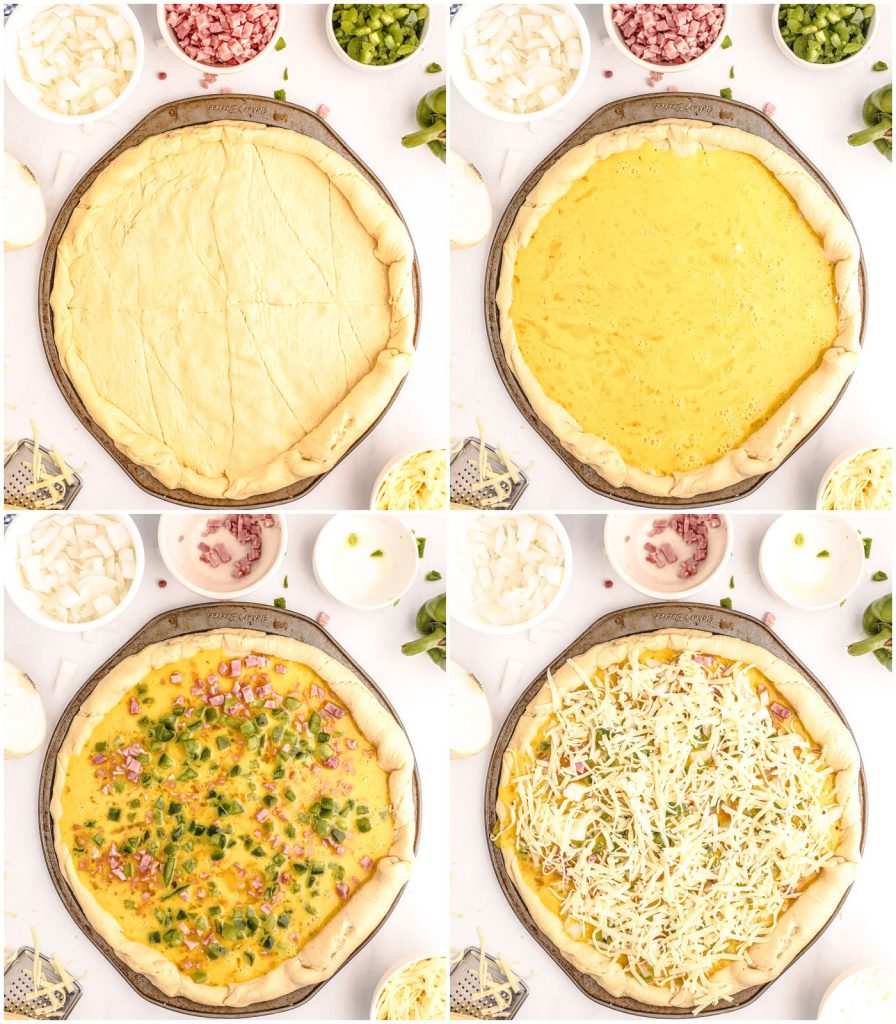 collage of 4 photos showing the steps to make a breakfast pizza including toppings