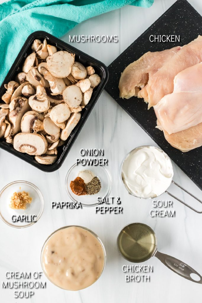 overhead shot of ingredients laid out to make mushroom chicken