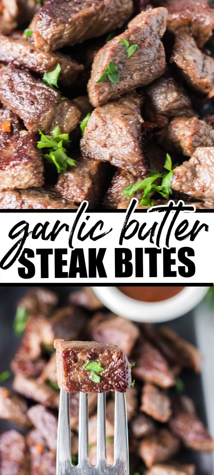Garlic Steak Bites take just minutes to prepare...and minutes to eat! Served as a main dish with sides or as an appetizer, these bites are perfectly seasoned with just salt, pepper, garlic, and butter. | www.persnicketyplates.com