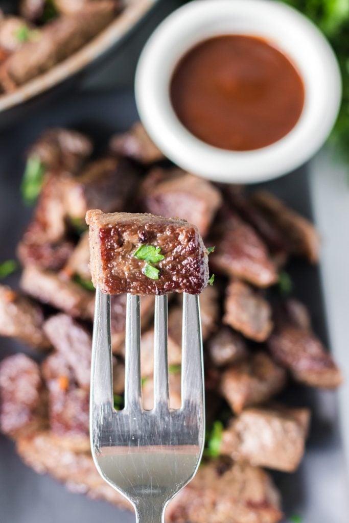 steak bite on a fork