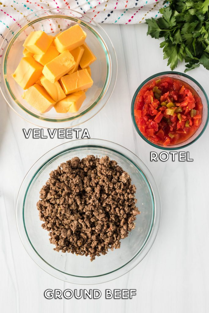 overhead shot of ingredients in bowls for rotel dip
