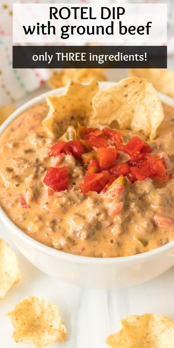 Rotel Dip with Ground Beef has only THREE ingredients and is cheesy, beefy, and a little bit spicy - perfect for any party! Throw this easy dip together and your guests will be asking for the recipe. | www.persnicketyplates.com