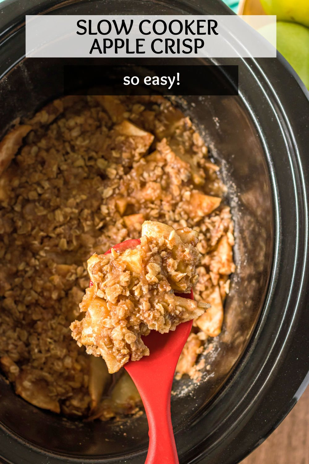 Easy Slow Cooker Apple Crisp with brown sugar cinnamon oat topping is the perfect way to use some of your favorite apples. Served warm or cold, this dessert is a favorite! | www.persnicketyplates.com