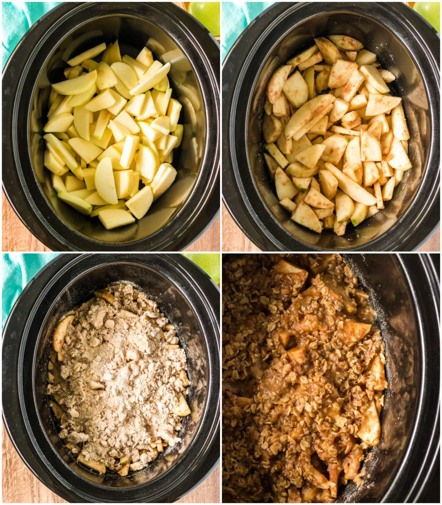 collage of slow cooker with sliced apples & oat topping to make a crisp