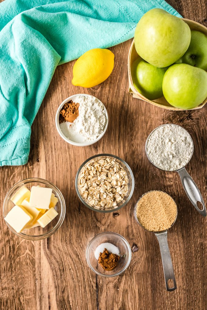 overhead shot of ingredients laid out to make apple crisp