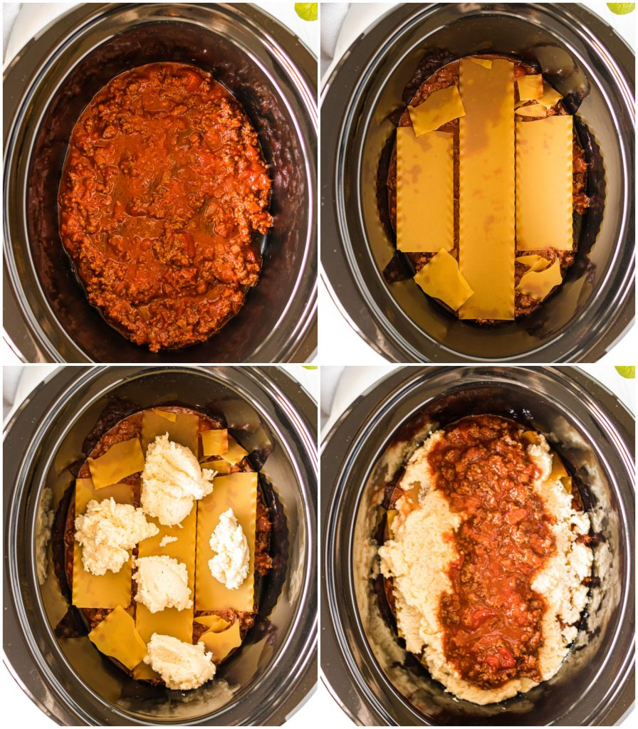 collage layers of lasagna in the slow cooker