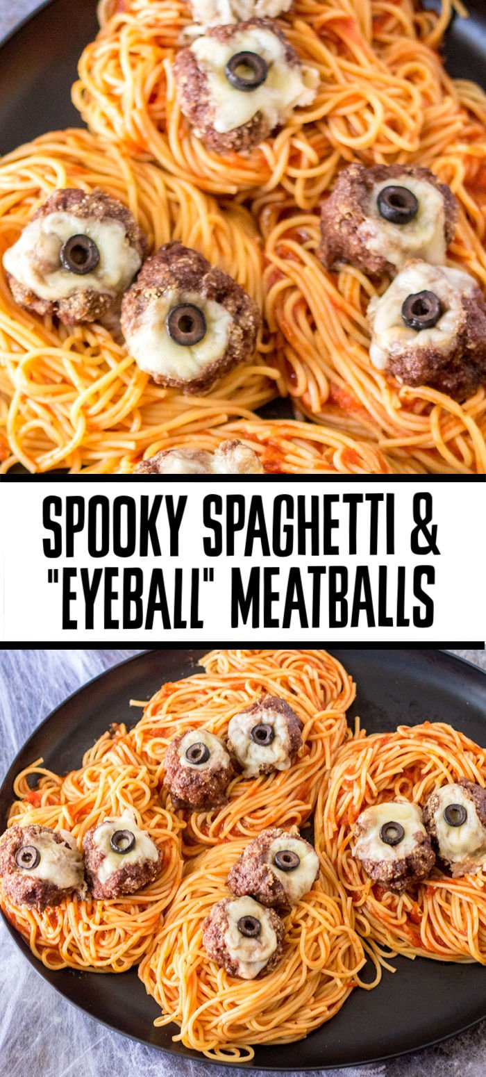"""You ever feel like you're being watched? This spooky Spaghetti and Meatballs """"Eyeball"""" Pasta is perfectly creepy for Halloween dinner. Cheese stuffed meatballs with olives turn into eyeballs on top of a bed of noodles.   www.persnicketyplates.com"""
