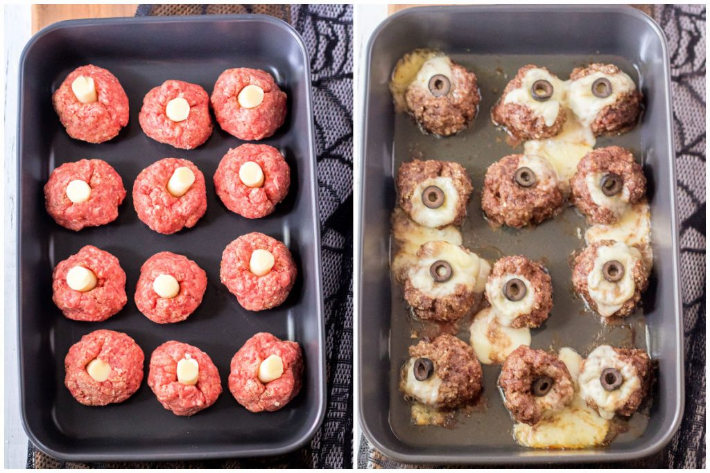 collage of cheese stuffed meatballs in a baking dish - cooked & uncooked