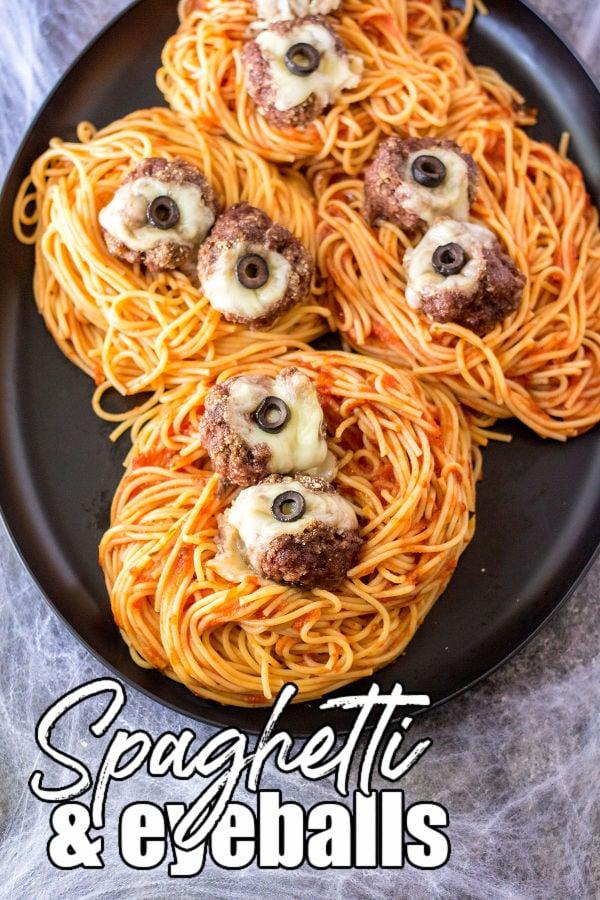 plate of halloween spaghetti & meatball eyeballs