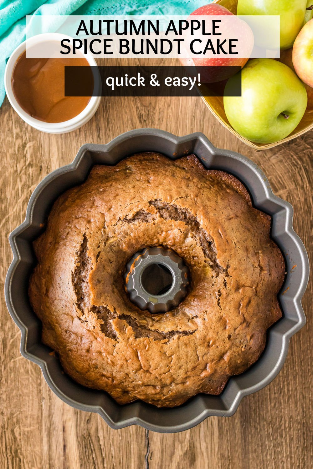 This autumn caramel apple pecan & cinnamon spice bundt cake starts with a cake mix so it's extra easy. Served warm with a scoop of vanilla ice cream and drizzled with caramel sauce, you'll love this fall dessert. | www.persnicketyplates.com