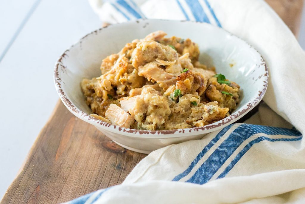 bowl of turkey stuffing casserole with a napkin