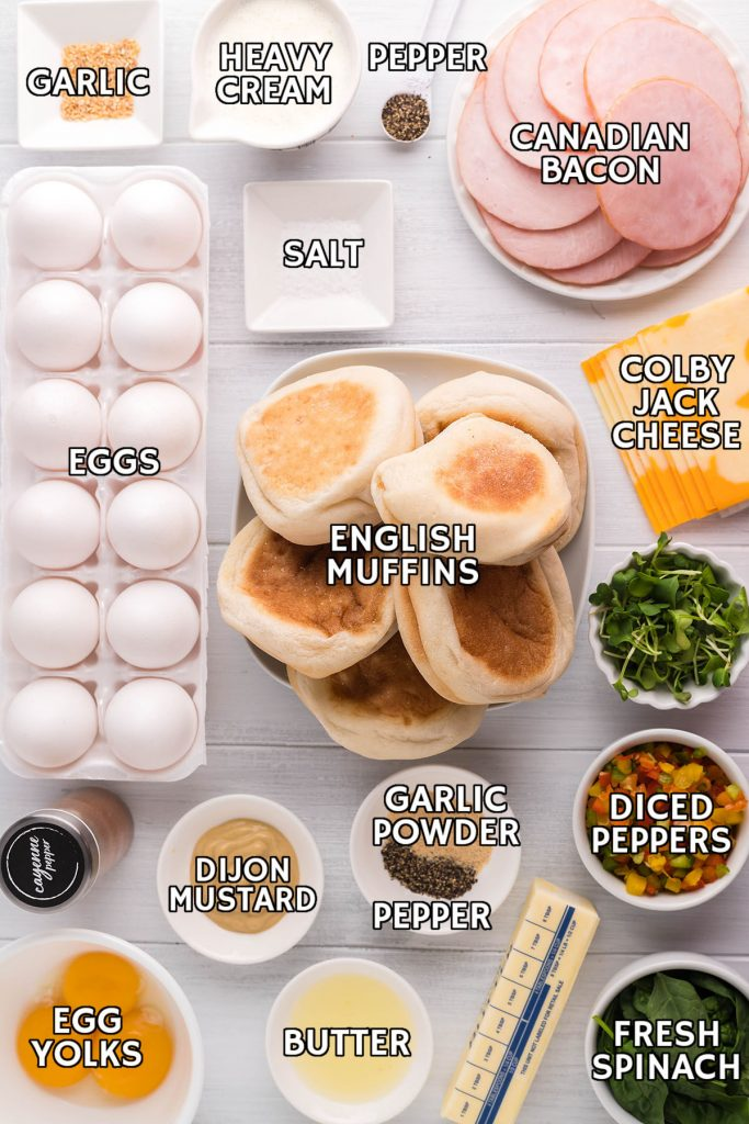 overhead shot of ingredients laid out to make eggs benedict casserole in the crockpot
