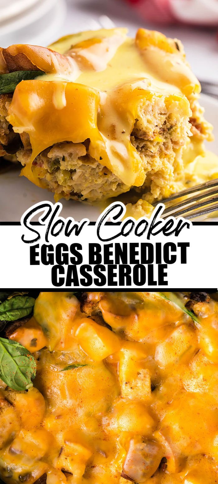 Crockpot Eggs Benedict Casserole - from scratch, rich and creamy hollandaise sauce drizzled over light and fluffy eggs benedict casserole made with English muffins, smoky Canadian bacon, fresh spinach, and slow-cooked to perfection. An updated, hands-off, take on a breakfast classic.  www.persnicketyplates.com
