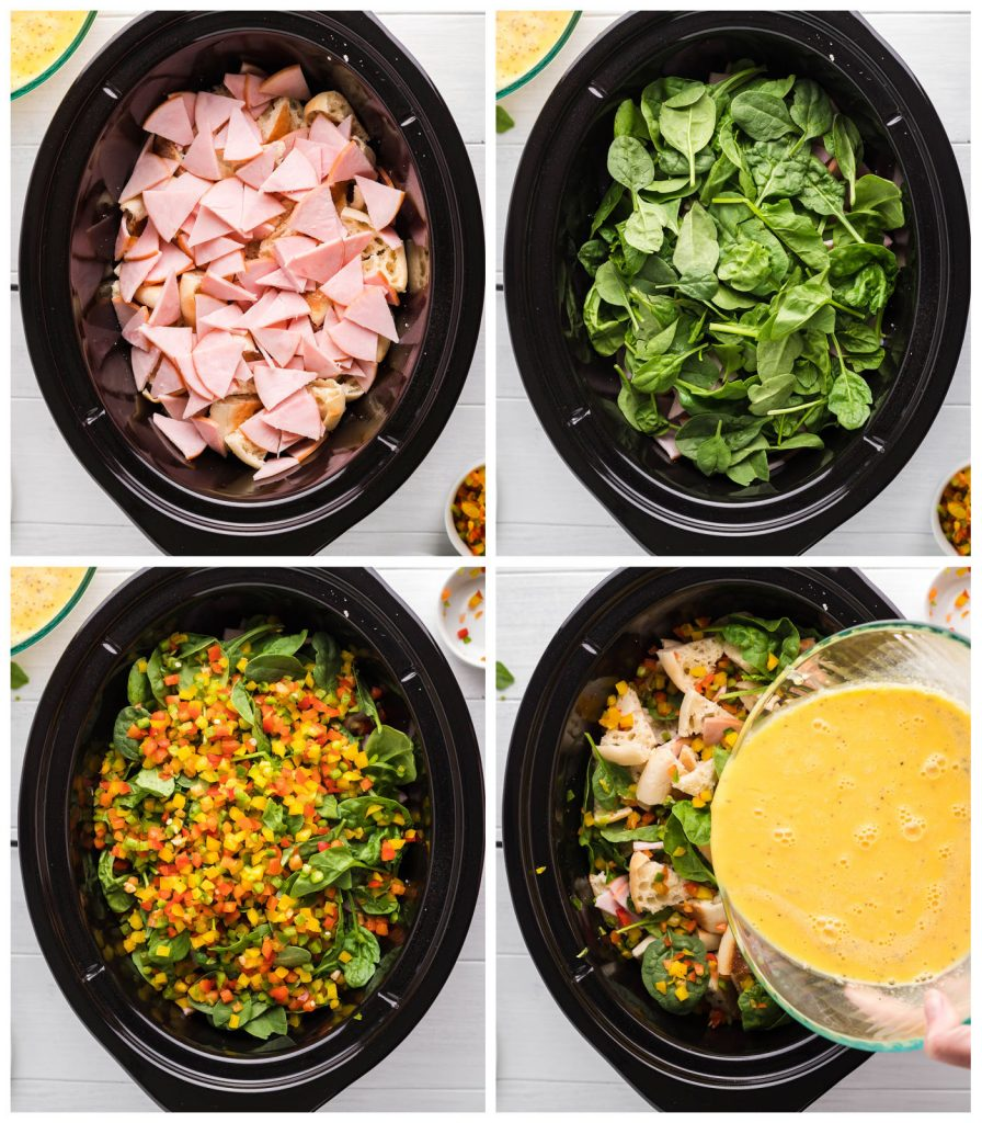 collage of overhead shots showing eggs benedict casserole being assembled in a slow cooker