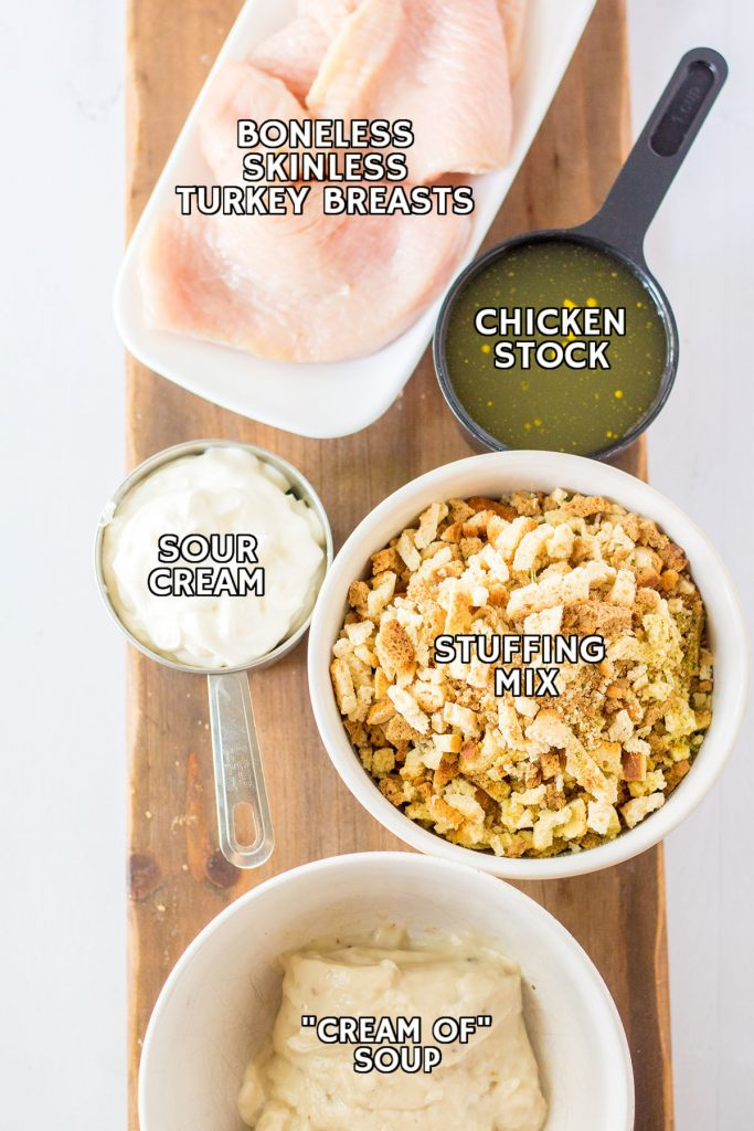 overhead shot of labeled ingredients laid out to make turkey casserole