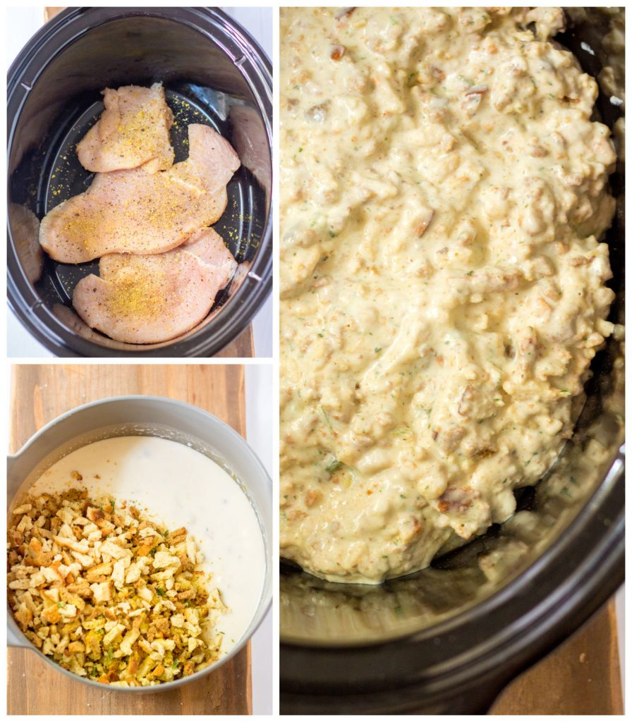 collage of the process of making turkey stuffing casserole in the crockpot