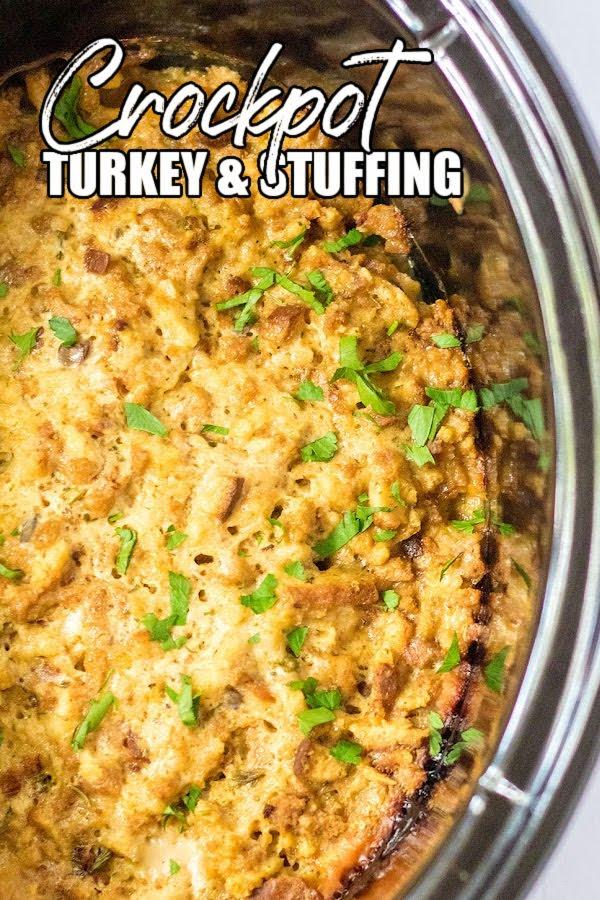 overhead shot of turkey stuffing casserole in slow cooker