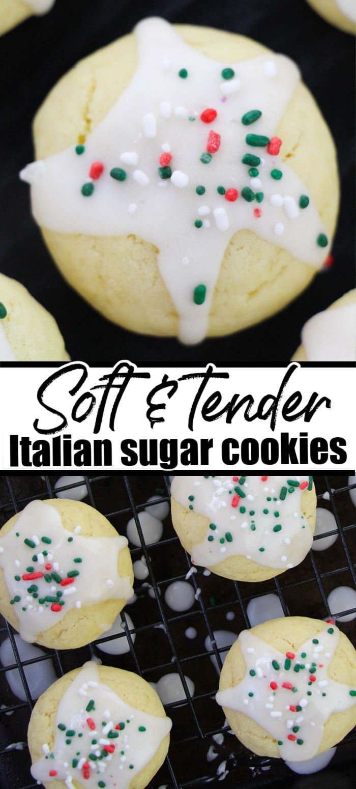 Soft and tender Italian Sugar Cookies are easy to make with just a few ingredients. Dipped in icing and topped with colorful sprinkles, these cookies are perfect for the holidays or any occasion.  | www.persnicketyplates.com