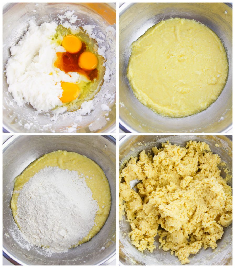 overhead collage shot of mixing bowls making italian sugar cookies