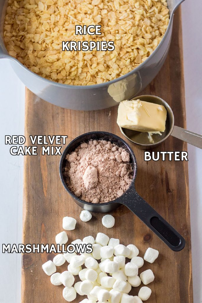 overhead shot of ingredients laid out to make rice krispie treats