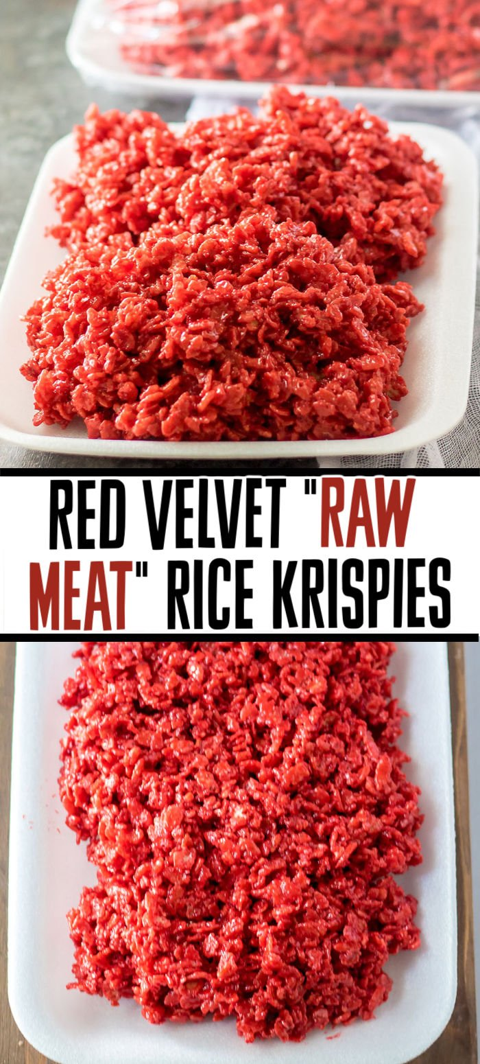 """Give your rice krispie treats a spooky upgrade and make these red velvet """"raw meat"""" rice krispie treats! It only takes a few ingredients and a few minutes to put together these tasty Halloween treats but your guests won't forget them!   www.persnicketyplates.com"""