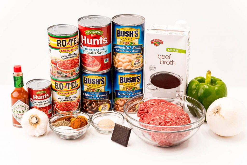 cans of beans and ingredients laid out to make chili