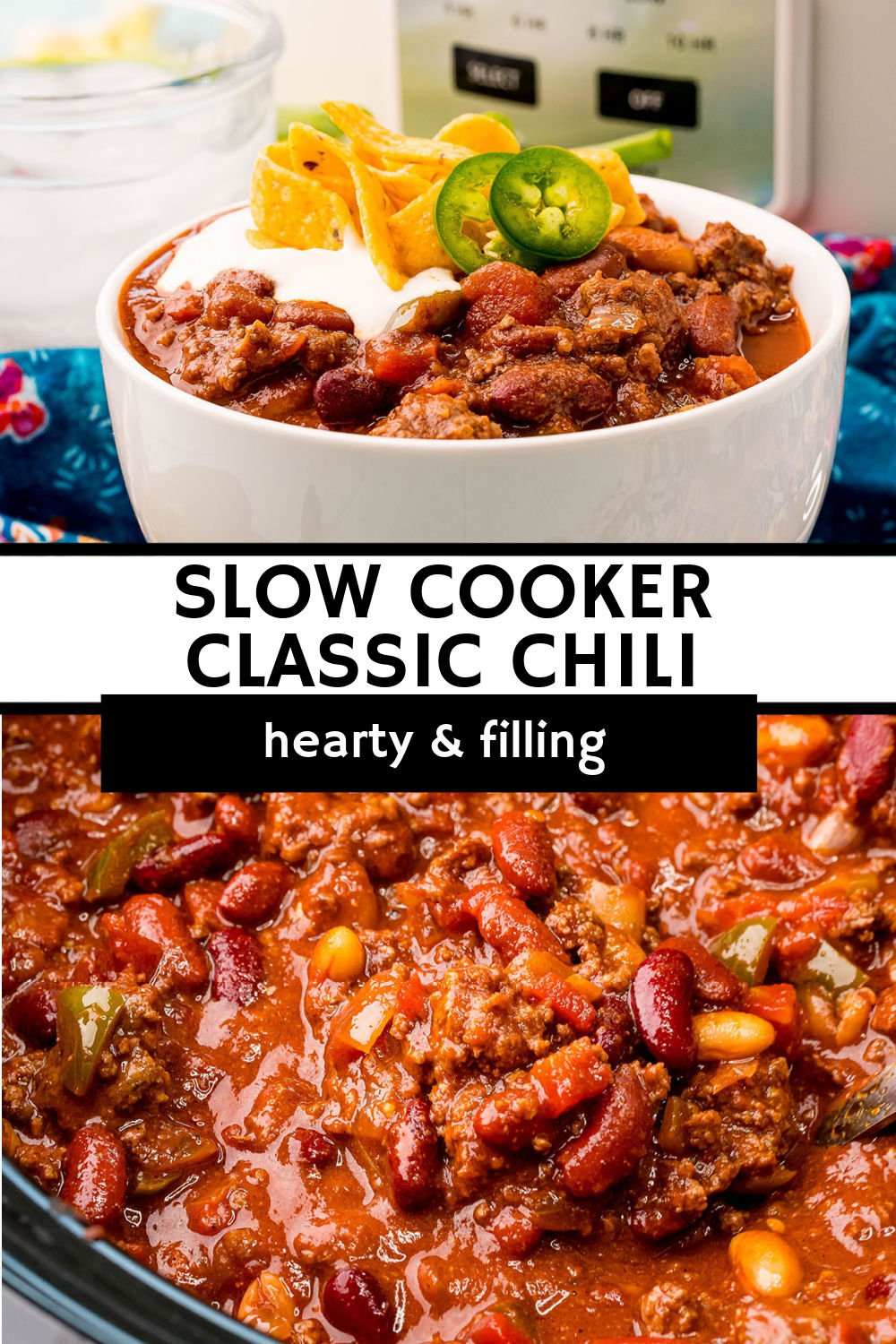 This thick and hearty classic slow cooker chili recipe is filling, easy, and full of flavor. Cooked slowly in the crockpot and then loaded with your favorite toppings, this meal makes everyone happy! | www.persnicketyplates.com
