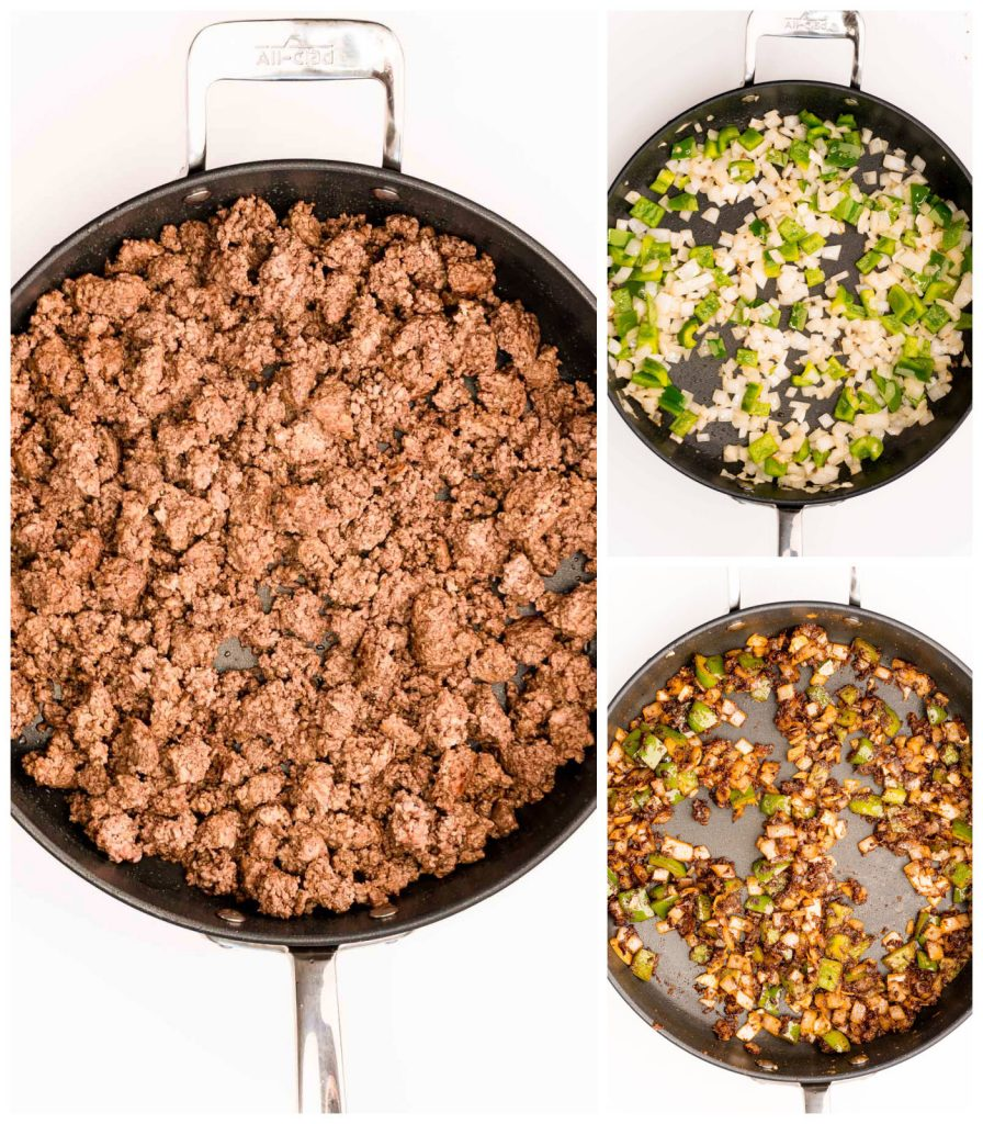 collage of skillet making ground beef and onions for chili