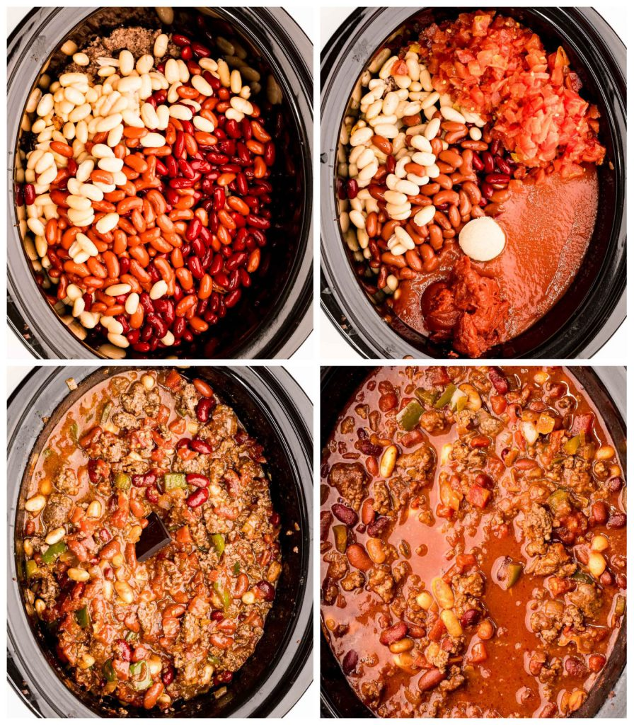 overhead collage of chili ingredients in slow cooker