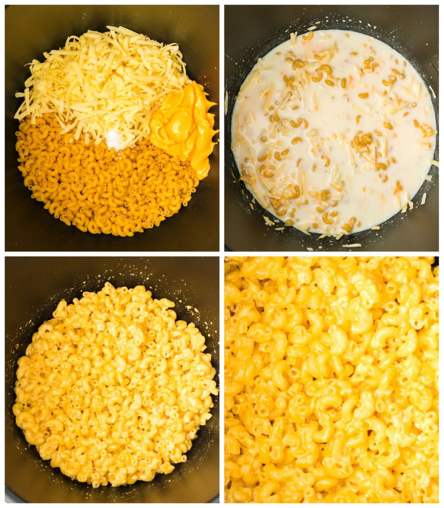 collage showing the process of making mac and cheese in the slow cooker