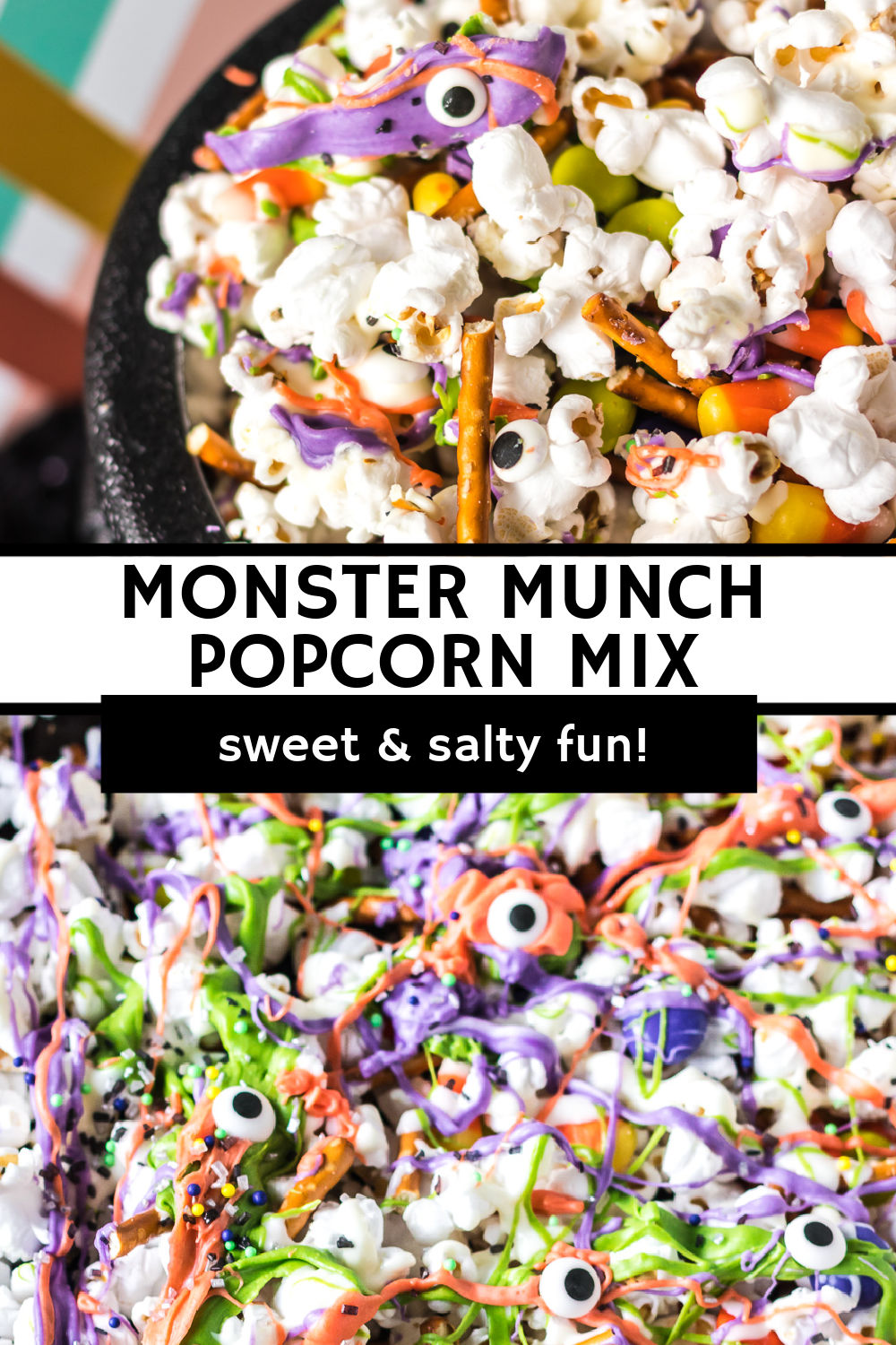 Halloween Monster Munch Popcorn Mixis a super easy party treat made with popcorn, pretzels, and Halloween candy that is drizzled with colorful vanilla candy melts. It's a perfect blend of salty, sweet, and delicious for a fun Halloween snack.   www.persnicketyplates.com