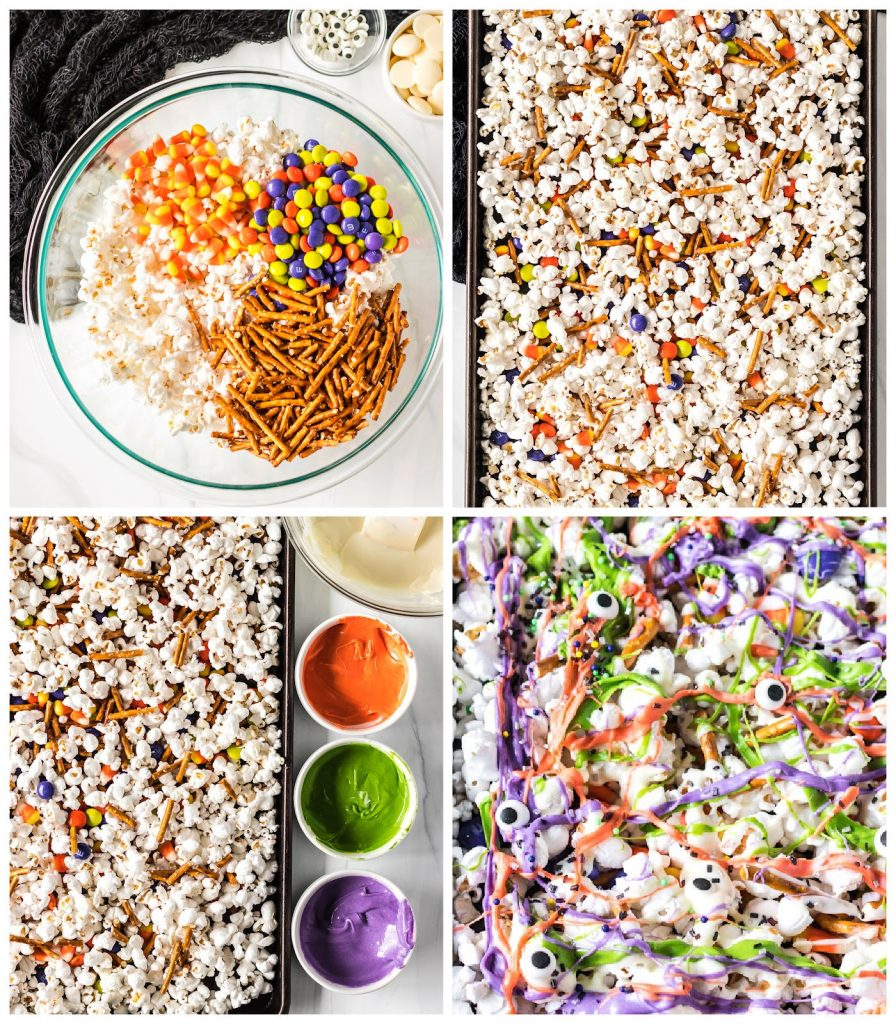collage of photos showing the process of making colorful Halloween Monster Munch Popcorn MIx