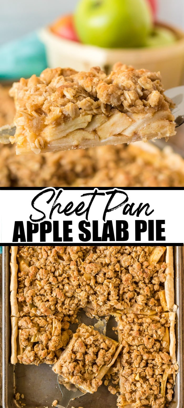 Apple season is in full swing, and what better way to celebrate than with a delicious apple slab pie? Gooey cinnamon and brown sugar apples baked on top of a buttery pie crust and finished off with a delightful oat crumble - make this easy sheet pan apple pie a fall staple! | www.persnicketyplates.com