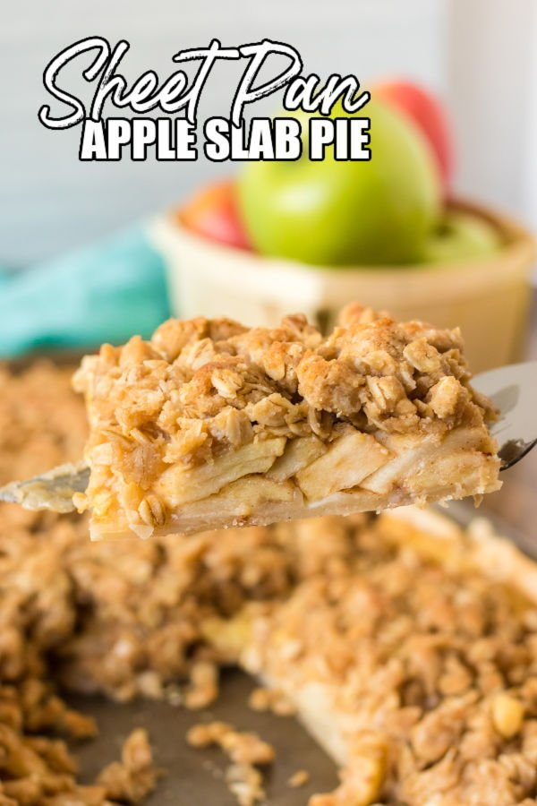 apple slab pie slice being lifted from the pan
