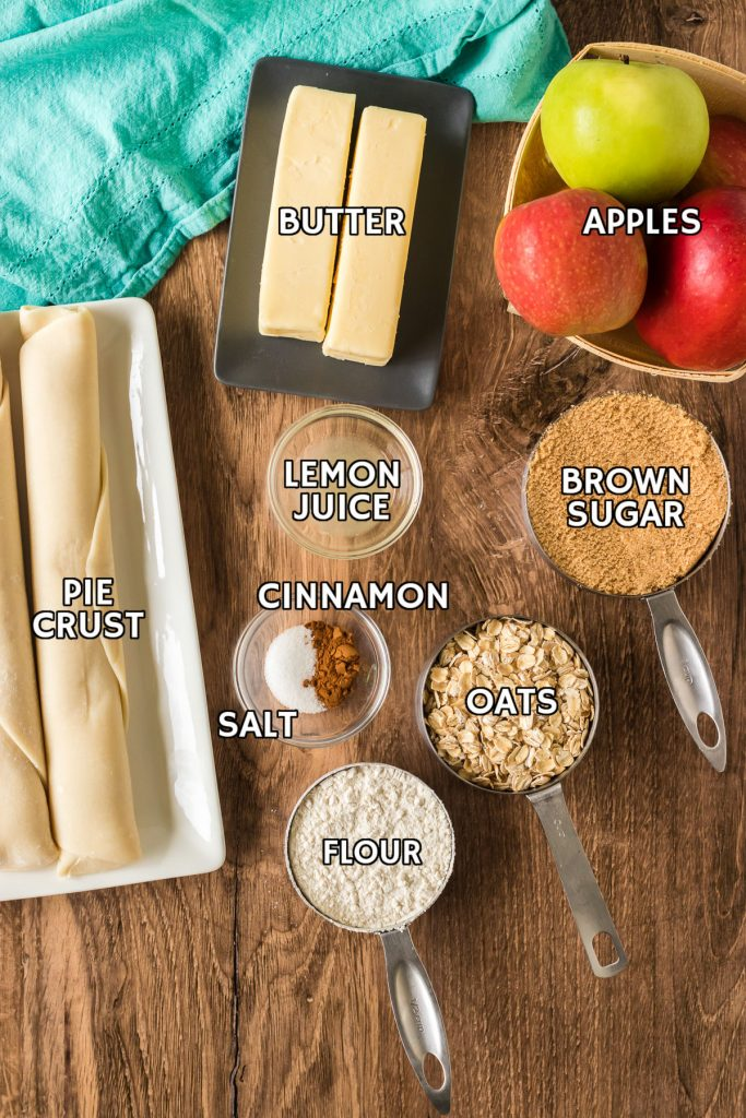 ingredients laid out to make apple slab pie